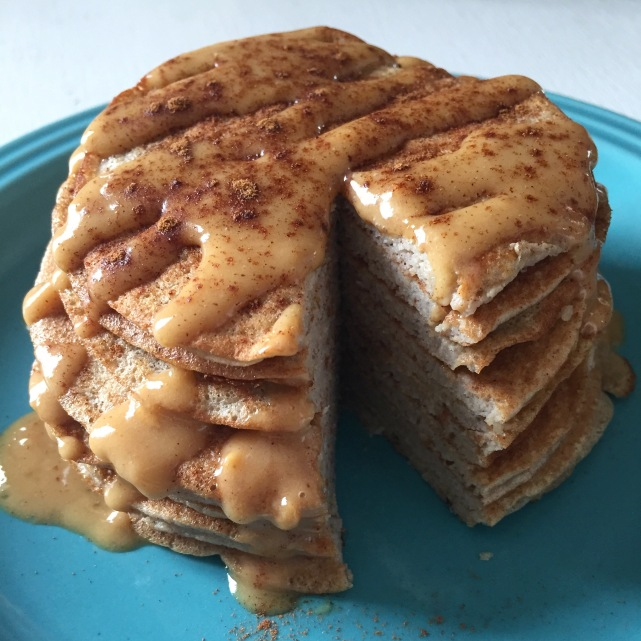 Dancing for Donuts | 3-Ingredient Protein Pancakes with Peanut Butter Frosting. [Gluten Free]